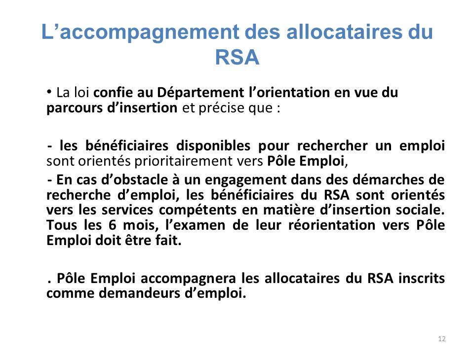 12 Laccompagnement des allocataires du RSA La loi confie au Département lorientation en vue du parcours dinsertion et précise que : - les bénéficiaire