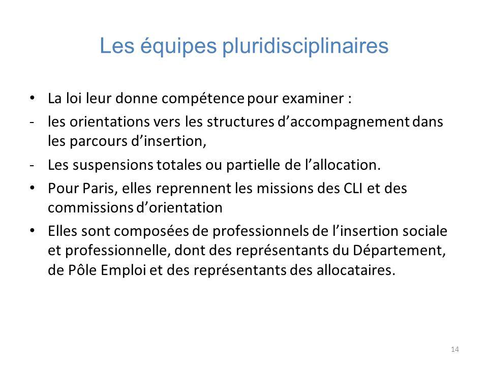 14 Les équipes pluridisciplinaires La loi leur donne compétence pour examiner : -les orientations vers les structures daccompagnement dans les parcour