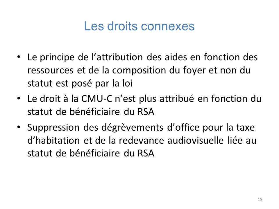 19 Les droits connexes Le principe de lattribution des aides en fonction des ressources et de la composition du foyer et non du statut est posé par la