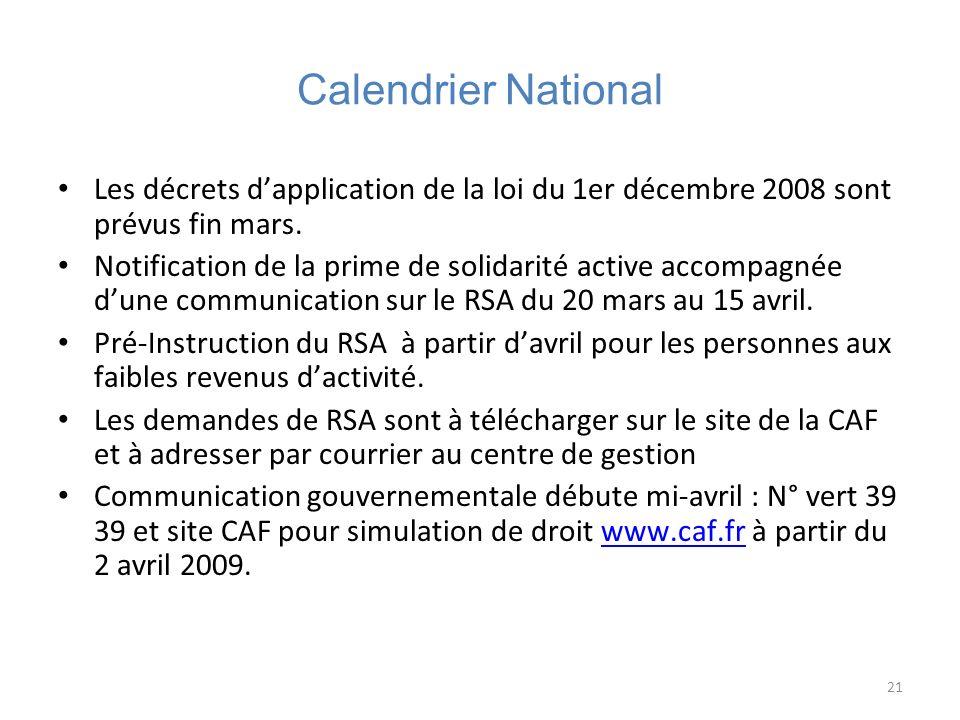 21 Calendrier National Les décrets dapplication de la loi du 1er décembre 2008 sont prévus fin mars. Notification de la prime de solidarité active acc