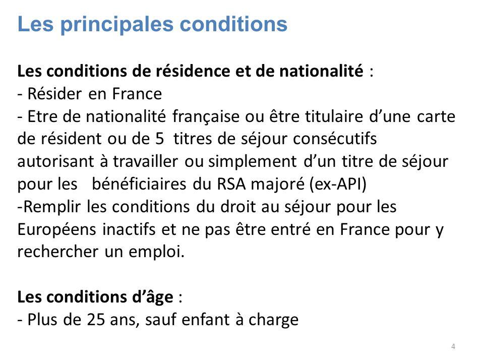 4 Les principales conditions Les conditions de résidence et de nationalité : - Résider en France - Etre de nationalité française ou être titulaire dun