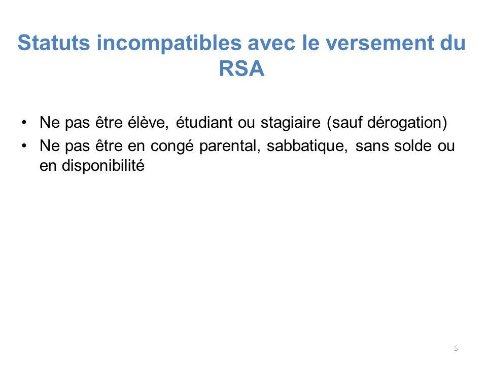 5 Statuts incompatibles avec le versement du RSA Ne pas être élève, étudiant ou stagiaire (sauf dérogation) Ne pas être en congé parental, sabbatique,