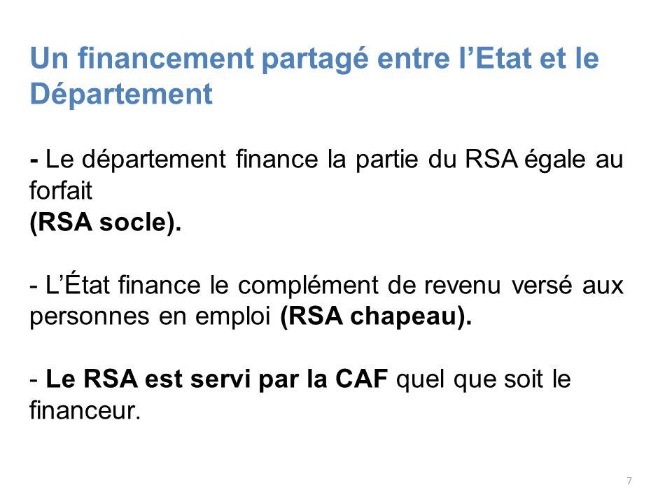 7 Un financement partagé entre lEtat et le Département - Le département finance la partie du RSA égale au forfait (RSA socle). - LÉtat finance le comp
