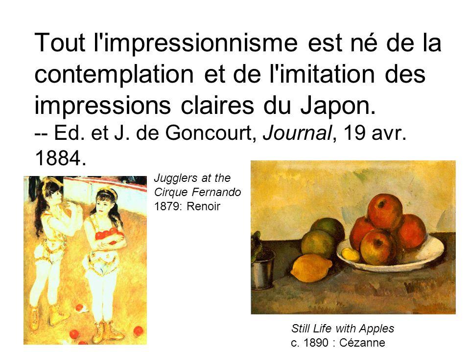 Tout l'impressionnisme est né de la contemplation et de l'imitation des impressions claires du Japon. -- Ed. et J. de Goncourt, Journal, 19 avr. 1884.