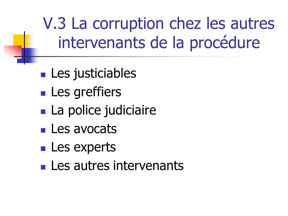 V.3 La corruption chez les autres intervenants de la procédure Les justiciables Les greffiers La police judiciaire Les avocats Les experts Les autres