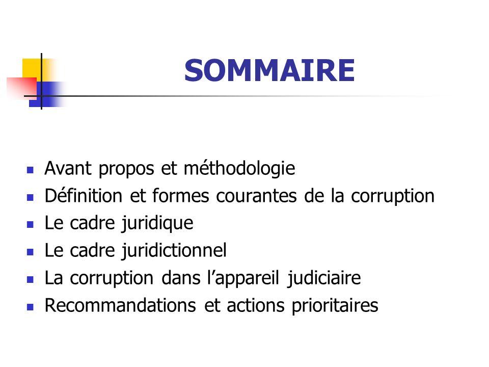 SOMMAIRE Avant propos et méthodologie Définition et formes courantes de la corruption Le cadre juridique Le cadre juridictionnel La corruption dans la