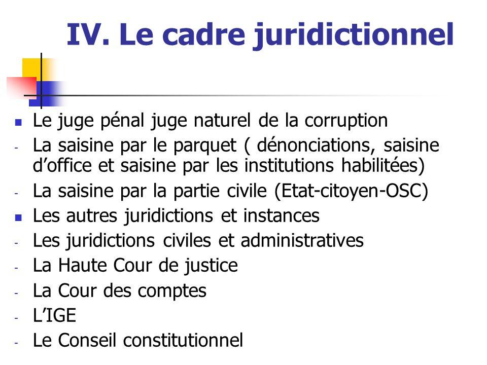 IV. Le cadre juridictionnel Le juge pénal juge naturel de la corruption - La saisine par le parquet ( dénonciations, saisine doffice et saisine par le