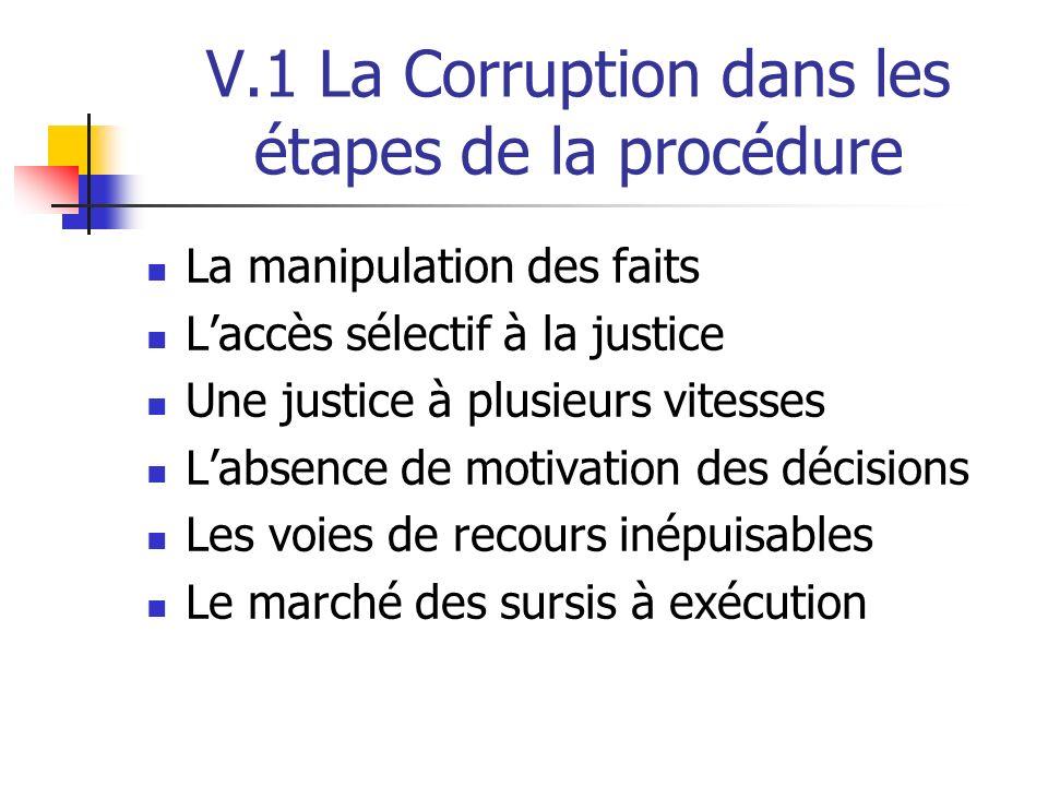V.1 La Corruption dans les étapes de la procédure La manipulation des faits Laccès sélectif à la justice Une justice à plusieurs vitesses Labsence de