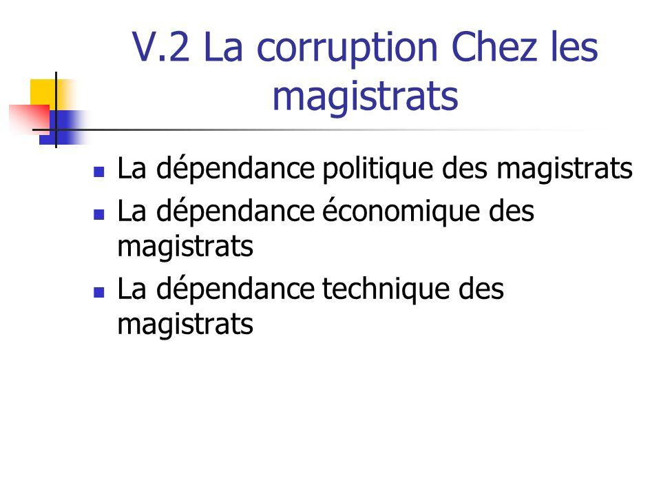 V.2 La corruption Chez les magistrats La dépendance politique des magistrats La dépendance économique des magistrats La dépendance technique des magis