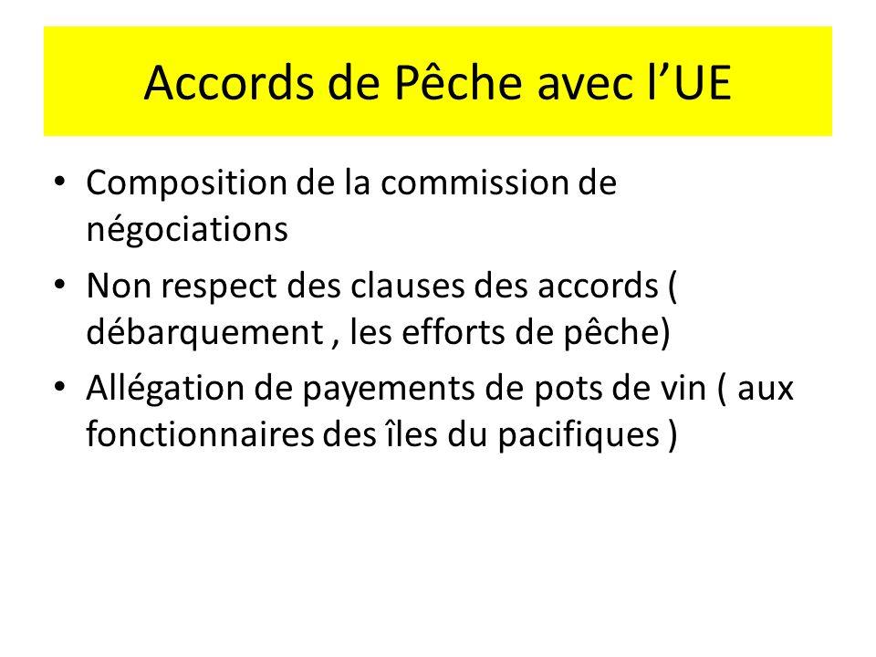 Accords de Pêche avec lUE Composition de la commission de négociations Non respect des clauses des accords ( débarquement, les efforts de pêche) Allégation de payements de pots de vin ( aux fonctionnaires des îles du pacifiques )