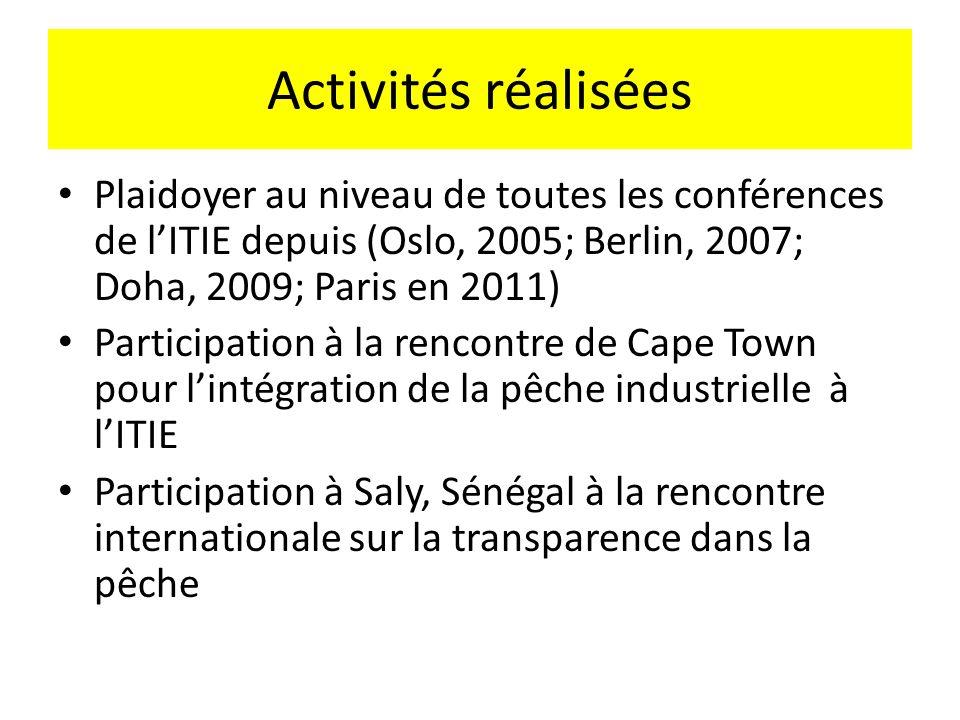Activités réalisées Plaidoyer au niveau de toutes les conférences de lITIE depuis (Oslo, 2005; Berlin, 2007; Doha, 2009; Paris en 2011) Participation à la rencontre de Cape Town pour lintégration de la pêche industrielle à lITIE Participation à Saly, Sénégal à la rencontre internationale sur la transparence dans la pêche