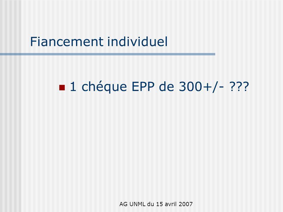 AG UNML du 15 avril 2007 Fiancement individuel 1 chéque EPP de 300+/-
