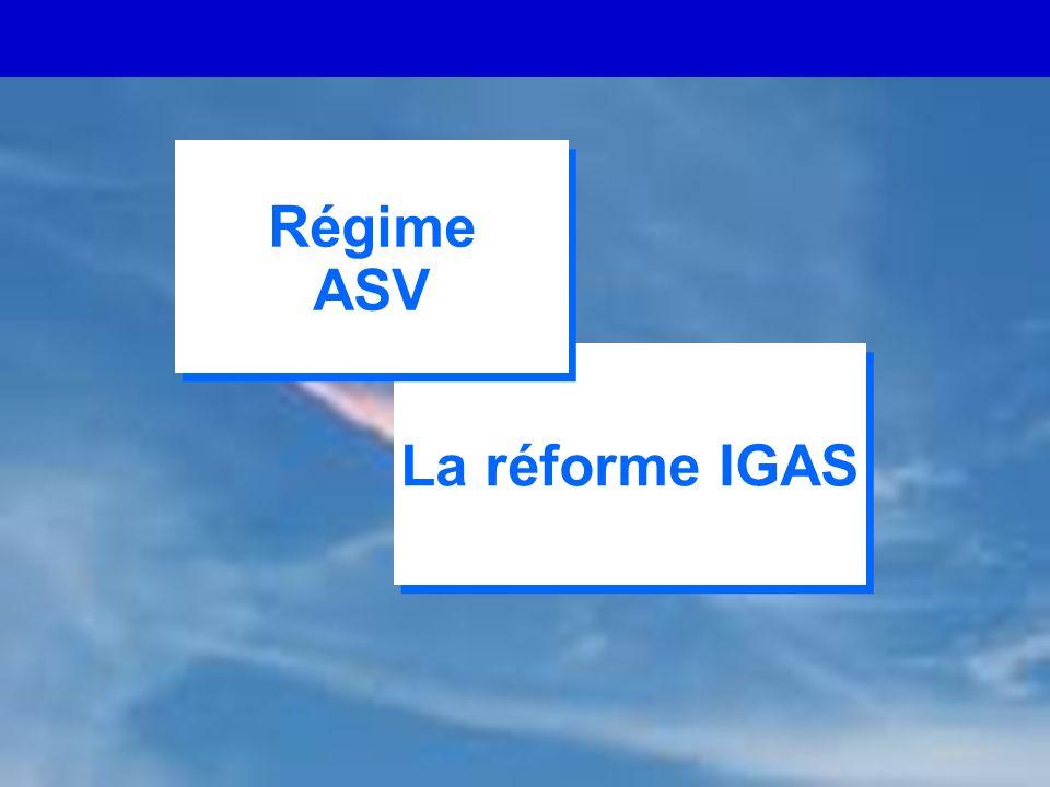 CARMF - 02/ 06 8 La réforme IGAS Régime ASV Régime ASV