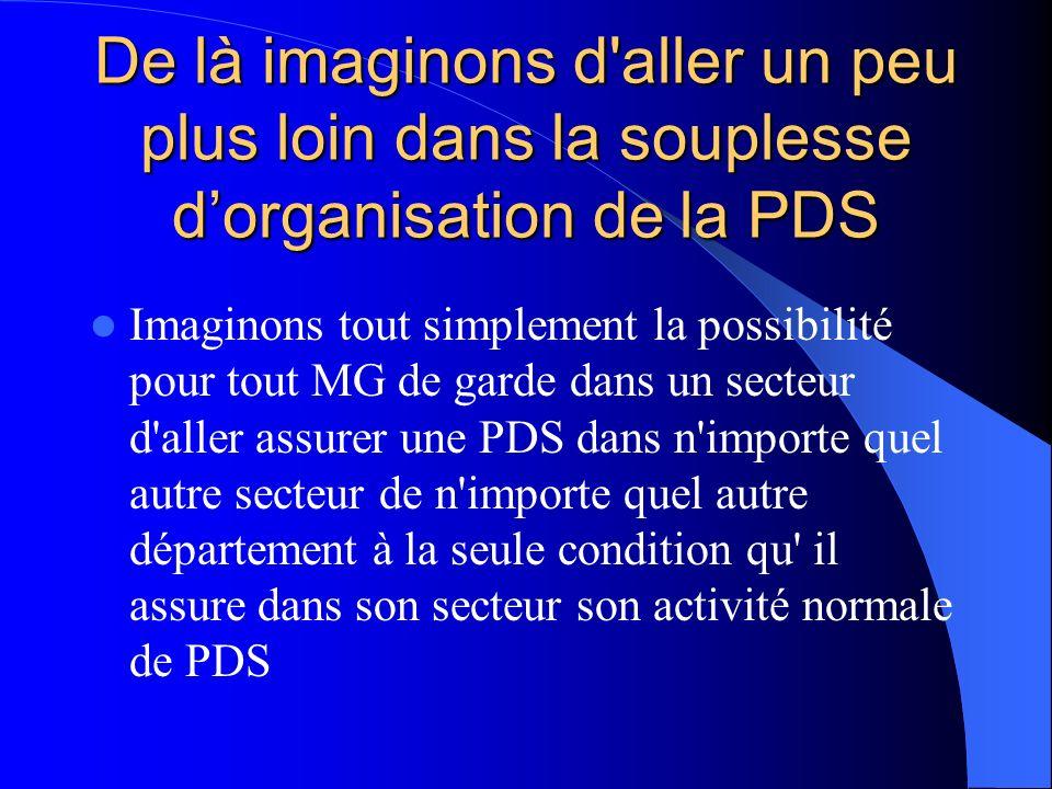 De là imaginons d'aller un peu plus loin dans la souplesse dorganisation de la PDS Imaginons tout simplement la possibilité pour tout MG de garde dans