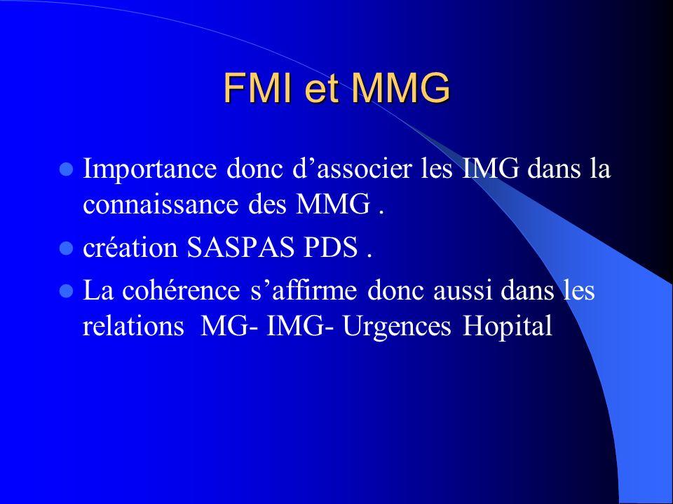 FMI et MMG Importance donc dassocier les IMG dans la connaissance des MMG. création SASPAS PDS. La cohérence saffirme donc aussi dans les relations MG