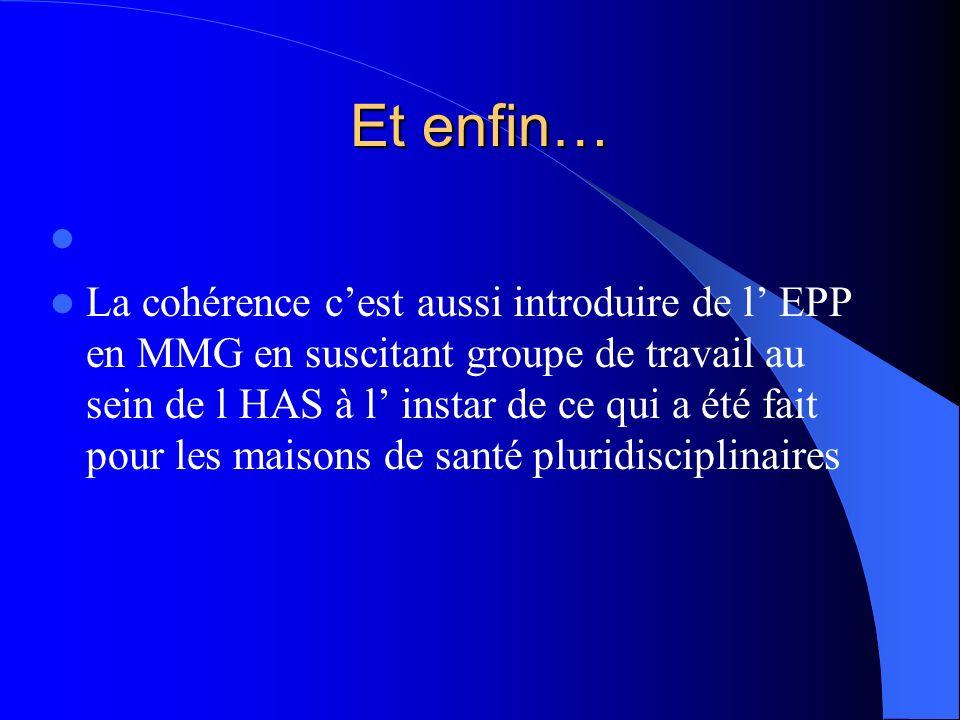 Et enfin… La cohérence cest aussi introduire de l EPP en MMG en suscitant groupe de travail au sein de l HAS à l instar de ce qui a été fait pour les
