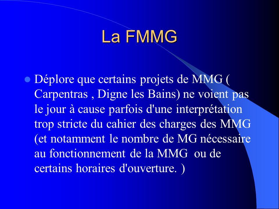 La FMMG Déplore que certains projets de MMG ( Carpentras, Digne les Bains) ne voient pas le jour à cause parfois d'une interprétation trop stricte du