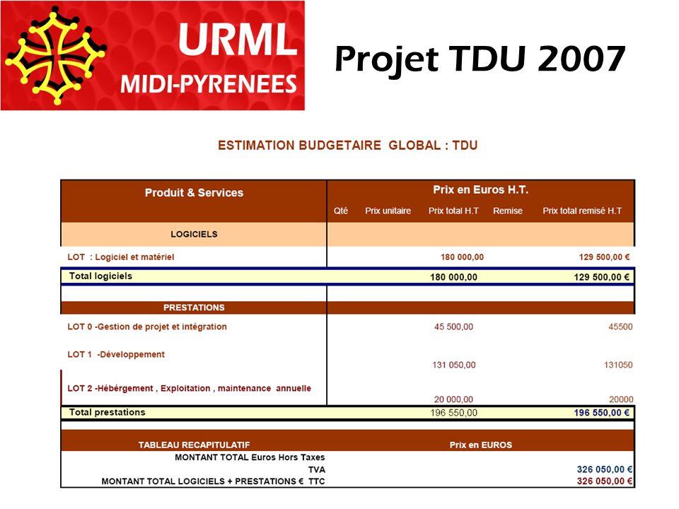Estimation Budgétaire Projet TDU 2007