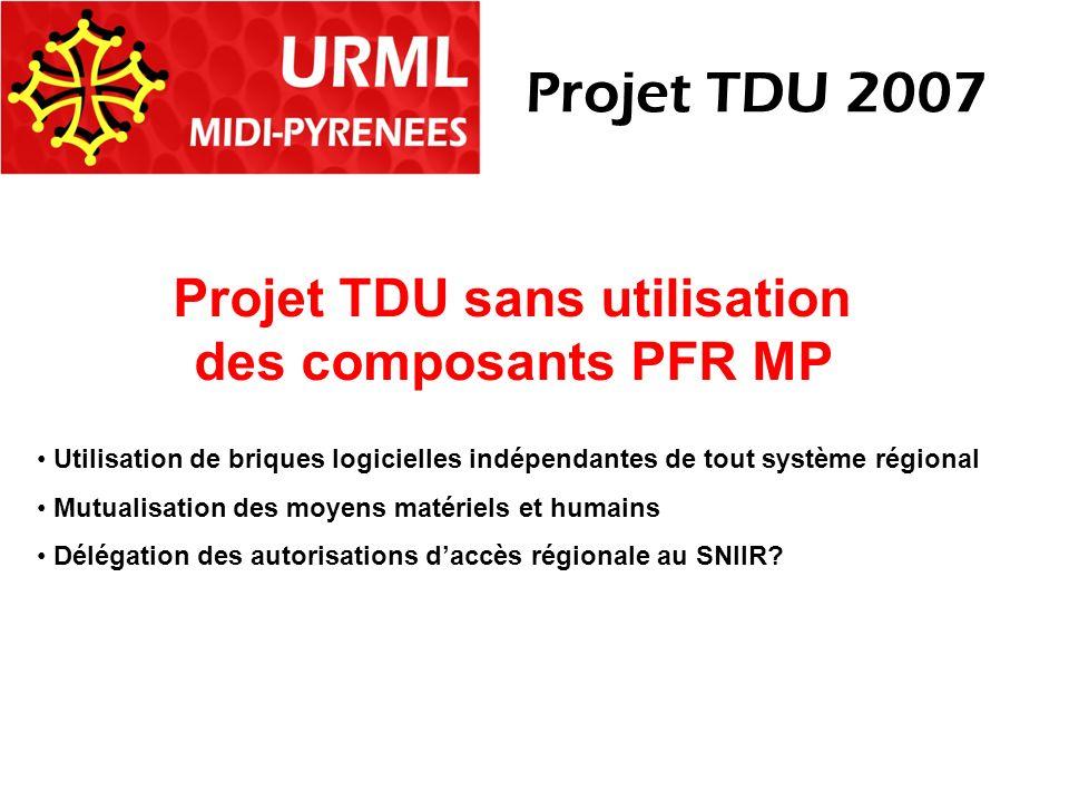 Projet TDU sans utilisation des composants PFR MP Utilisation de briques logicielles indépendantes de tout système régional Mutualisation des moyens matériels et humains Délégation des autorisations daccès régionale au SNIIR