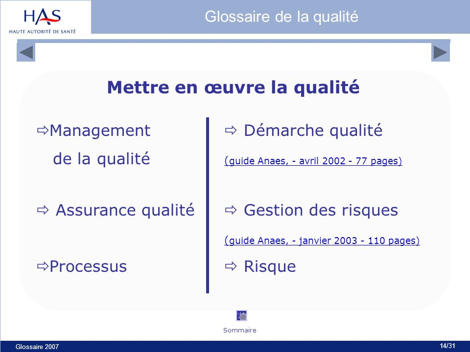 Glossaire 2007 14/31 Mettre en œuvre la qualité Management Démarche qualité de la qualité ( guide Anaes, - avril 2002 - 77 pages) ( guide Anaes, - avr