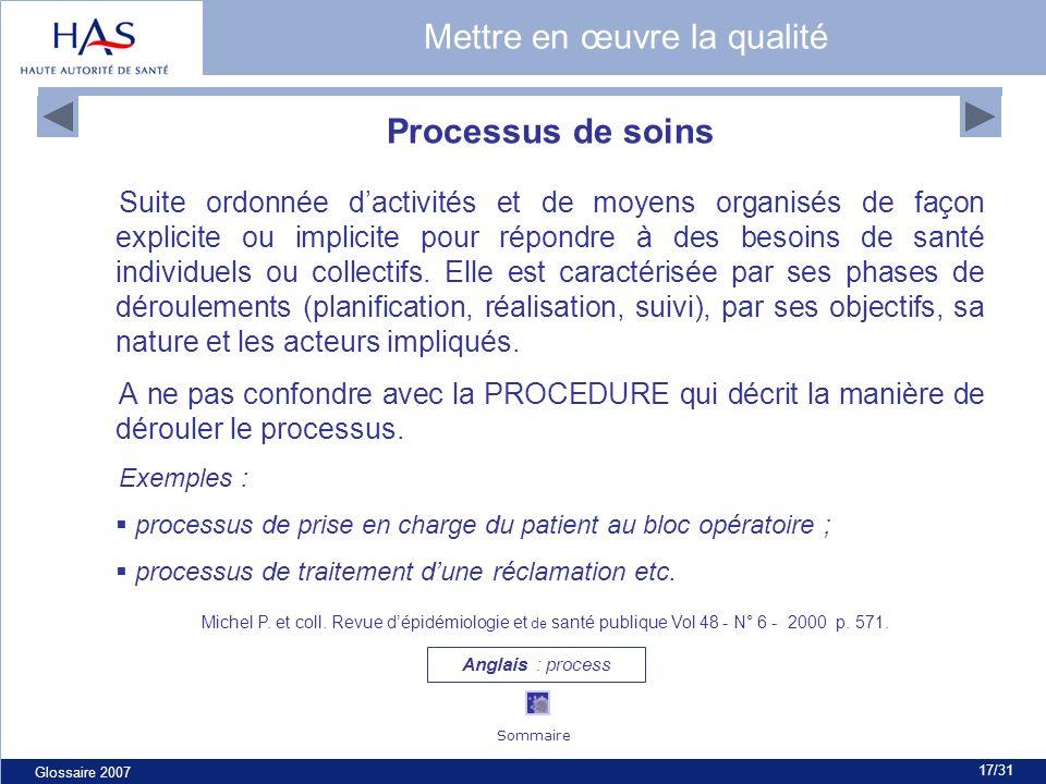 Glossaire 2007 17/31 Processus de soins Suite ordonnée dactivités et de moyens organisés de façon explicite ou implicite pour répondre à des besoins de santé individuels ou collectifs.
