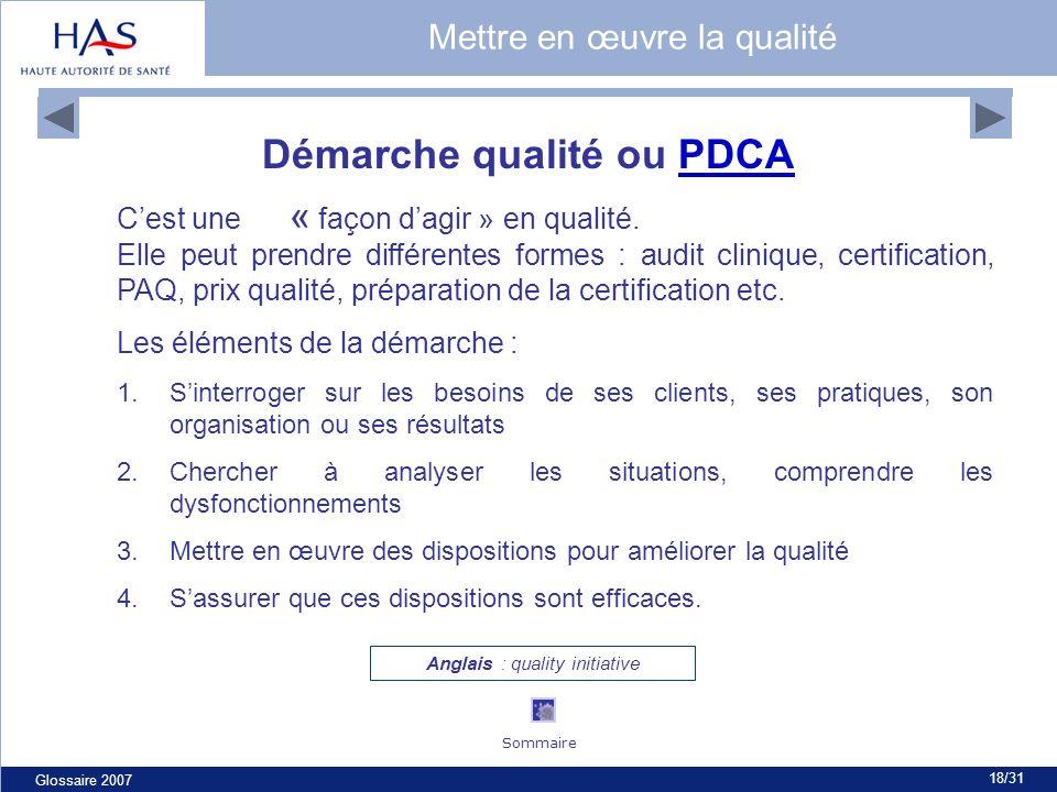 Glossaire 2007 18/31 Démarche qualité ou PDCAPDCA Cest une « façon dagir » en qualité. Elle peut prendre différentes formes : audit clinique, certific