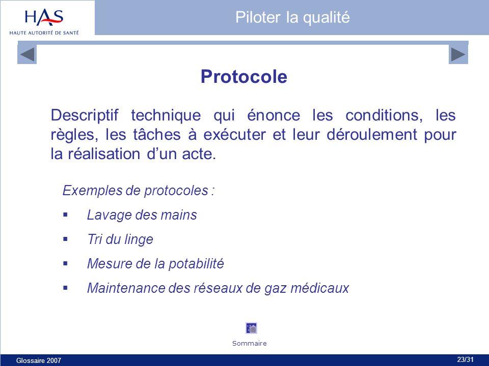 Glossaire 2007 23/31 Protocole Descriptif technique qui énonce les conditions, les règles, les tâches à exécuter et leur déroulement pour la réalisation dun acte.