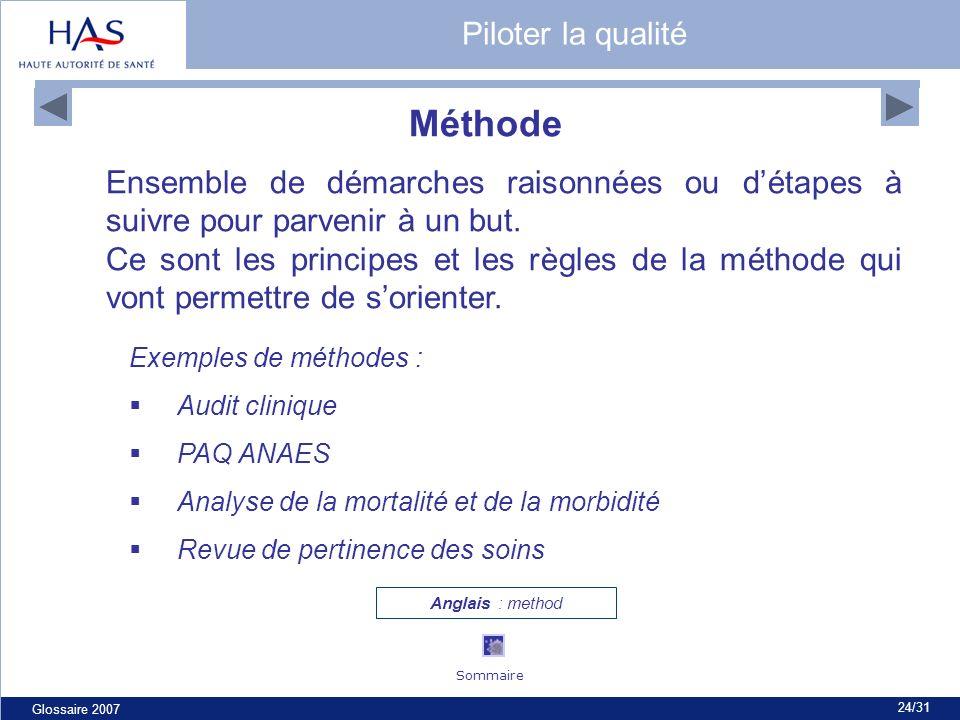 Glossaire 2007 24/31 Méthode Ensemble de démarches raisonnées ou détapes à suivre pour parvenir à un but. Ce sont les principes et les règles de la mé