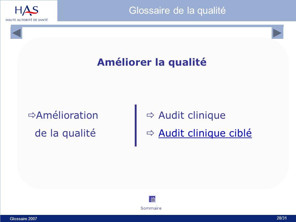 Glossaire 2007 28/31 Améliorer la qualité Amélioration Audit clinique de la qualité Audit clinique cibléAudit clinique ciblé Glossaire de la qualité S