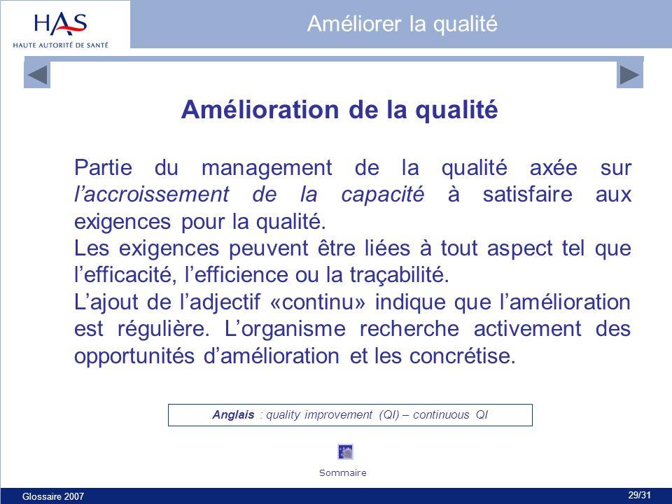 Glossaire 2007 29/31 Amélioration de la qualité Partie du management de la qualité axée sur laccroissement de la capacité à satisfaire aux exigences p