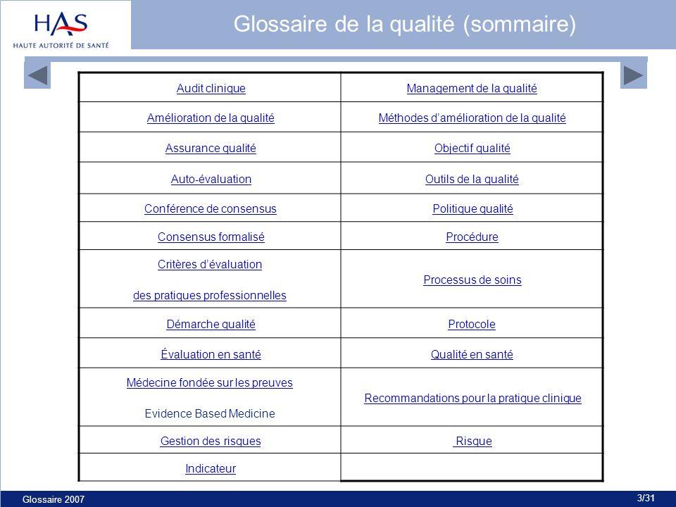 Glossaire 2007 3/31 Audit cliniqueManagement de la qualité Amélioration de la qualitéMéthodes damélioration de la qualité Assurance qualitéObjectif qu