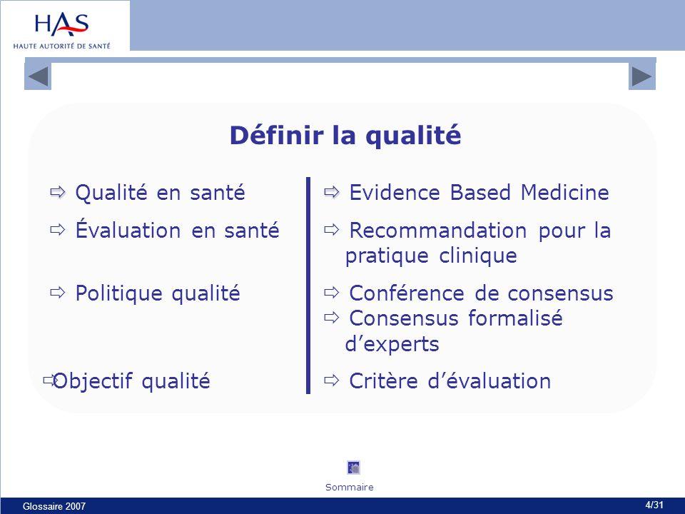 Glossaire 2007 4/31 Définir la qualité Qualité en santé Evidence Based Medicine Évaluation en santé Recommandation pour la pratique clinique Politique qualité Conférence de consensus Consensus formalisé dexperts Objectif qualité Critère dévaluation Glossaire de la qualité Sommaire