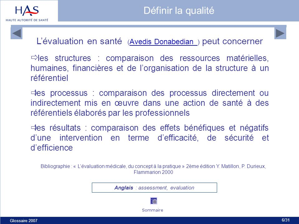 Glossaire 2007 6/31 Lévaluation en santé ( Avedis Donabedian ) peut concerner Avedis Donabedian les structures : comparaison des ressources matérielle
