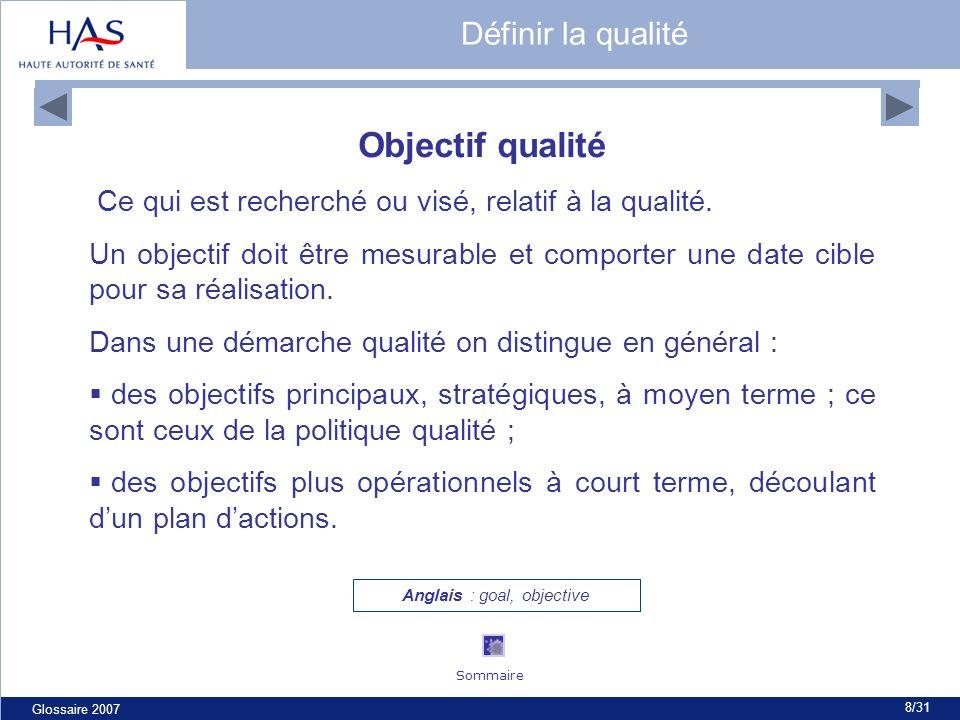 Glossaire 2007 8/31 Objectif qualité Ce qui est recherché ou visé, relatif à la qualité. Un objectif doit être mesurable et comporter une date cible p