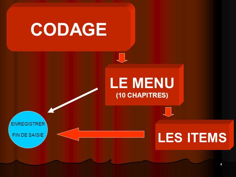 4 CODAGE LE MENU (10 CHAPITRES) LES ITEMS ENREGISTRER FIN DE SAISIE