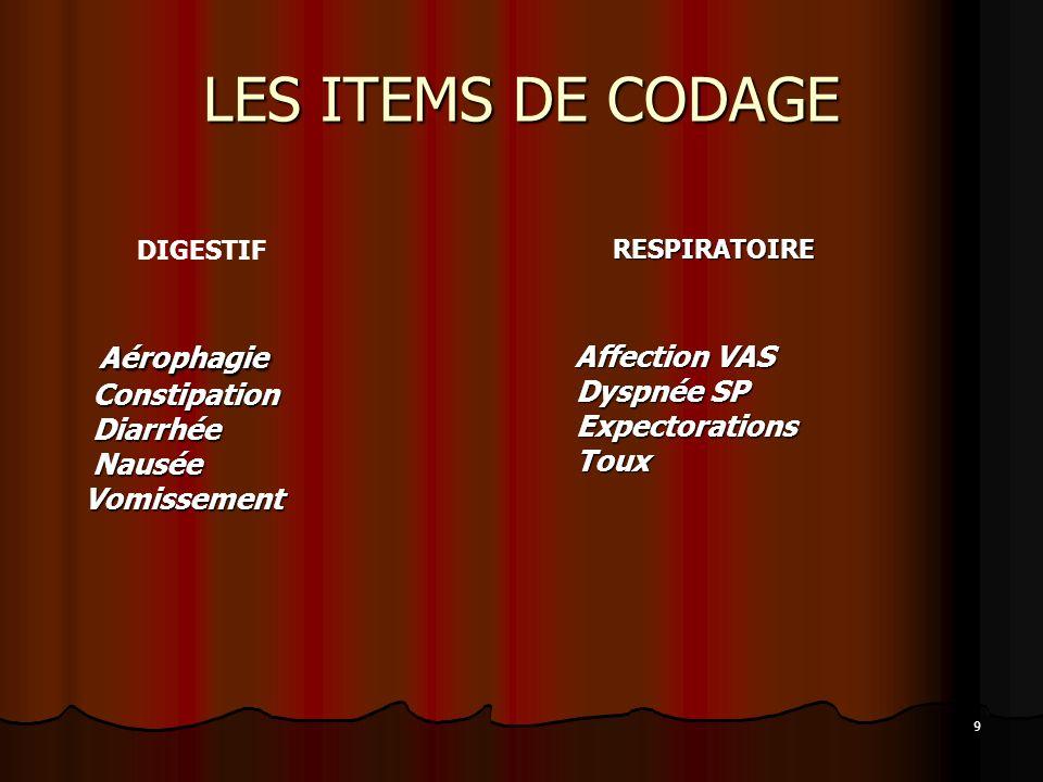 9 LES ITEMS DE CODAGE DIGESTIF Aérophagie Aérophagie Constipation Constipation Diarrhée Diarrhée Nausée Nausée Vomissement Vomissement RESPIRATOIRE RE
