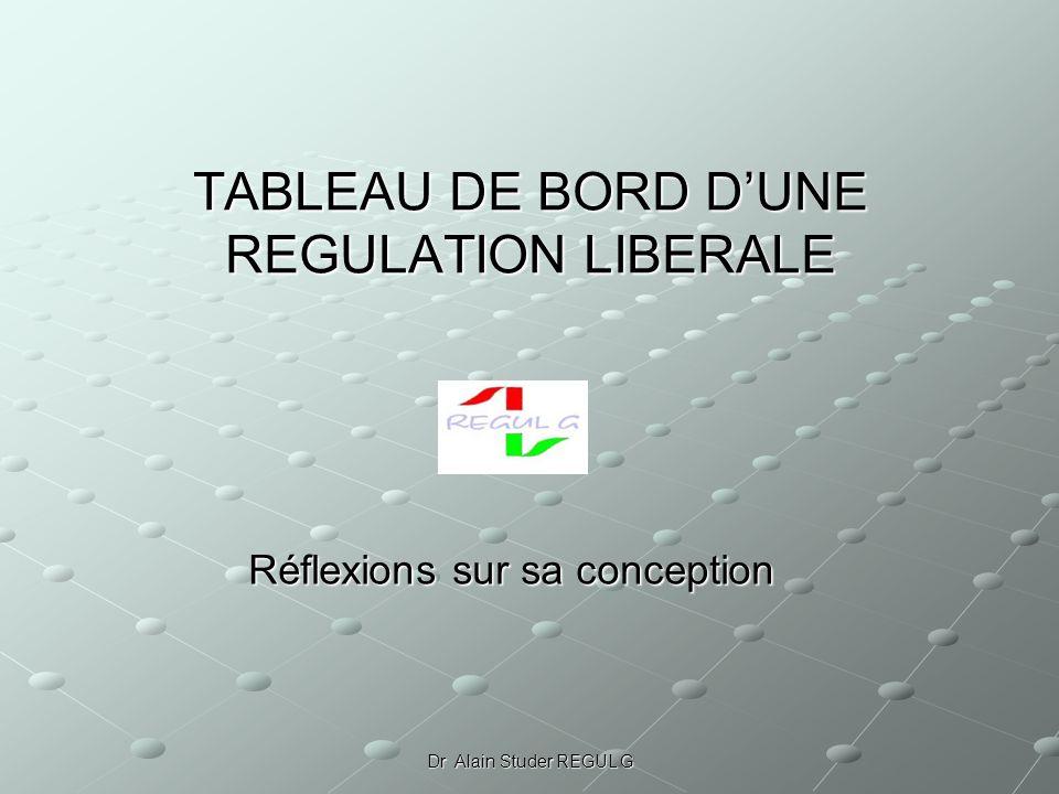 Dr Alain Studer REGUL G TABLEAU DE BORD DUNE REGULATION LIBERALE Réflexions sur sa conception