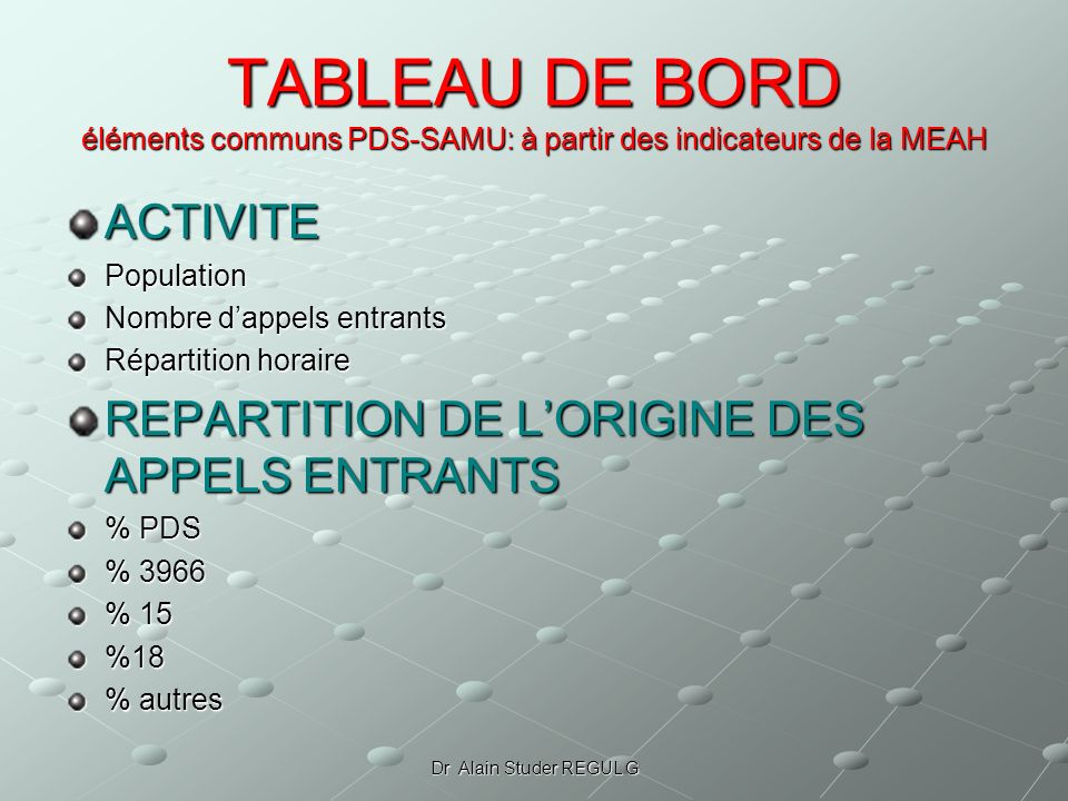 Dr Alain Studer REGUL G TABLEAU DE BORD éléments communs PDS-SAMU: à partir des indicateurs de la MEAH ACTIVITEPopulation Nombre dappels entrants Répartition horaire REPARTITION DE LORIGINE DES APPELS ENTRANTS % PDS % 3966 % 15 %18 % autres
