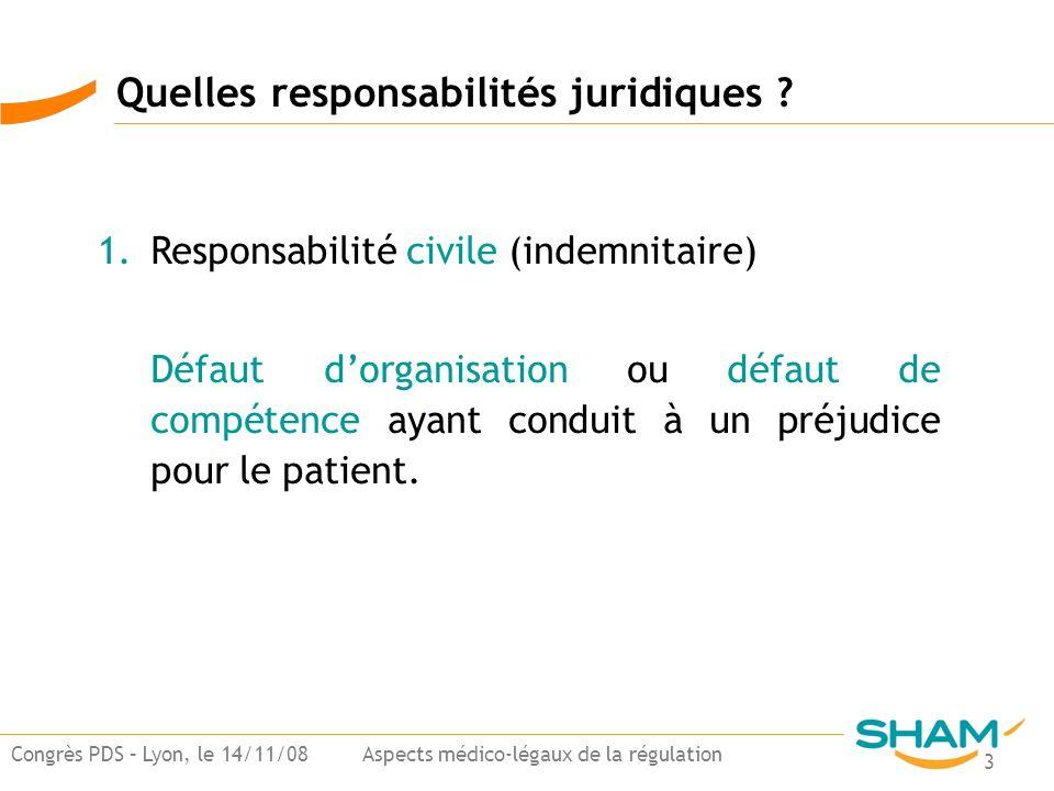 3 Congrès PDS – Lyon, le 14/11/08 Aspects médico-légaux de la régulation 1.Responsabilité civile (indemnitaire) Défaut dorganisation ou défaut de comp