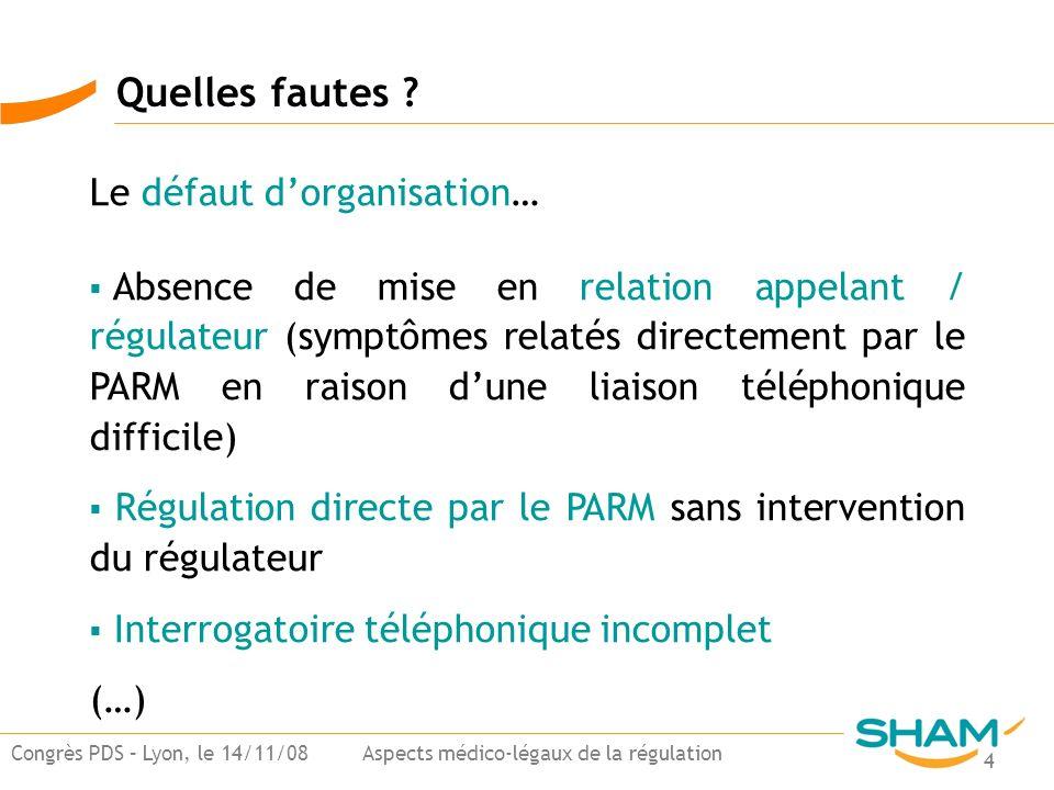 4 Congrès PDS – Lyon, le 14/11/08 Aspects médico-légaux de la régulation Quelles fautes ? Le défaut dorganisation… Absence de mise en relation appelan