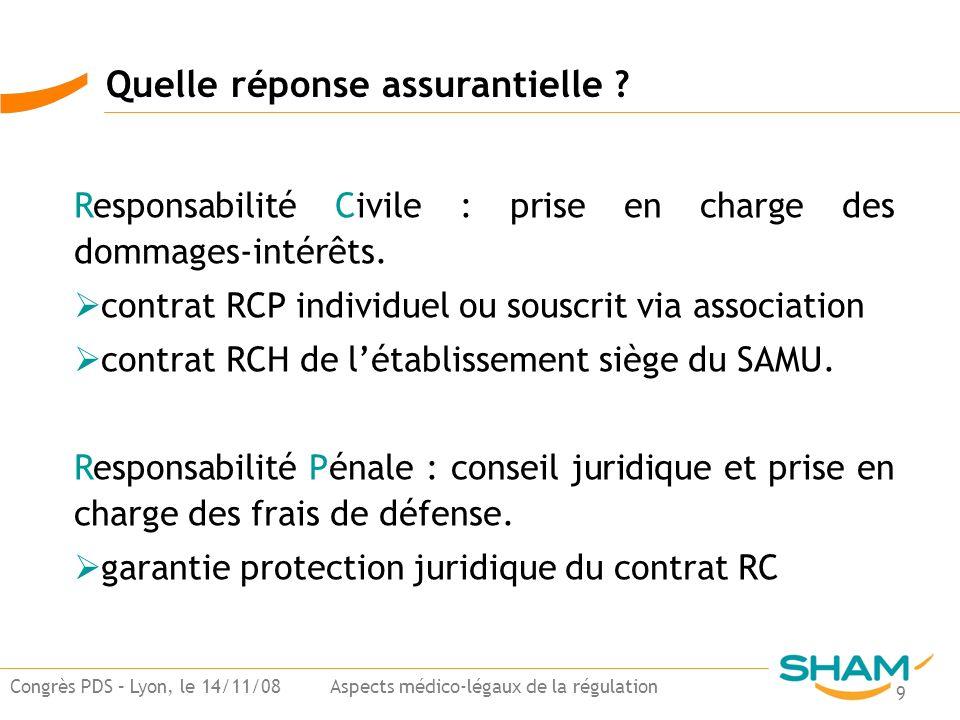 9 Congrès PDS – Lyon, le 14/11/08 Aspects médico-légaux de la régulation Quelle réponse assurantielle ? Responsabilité Civile : prise en charge des do