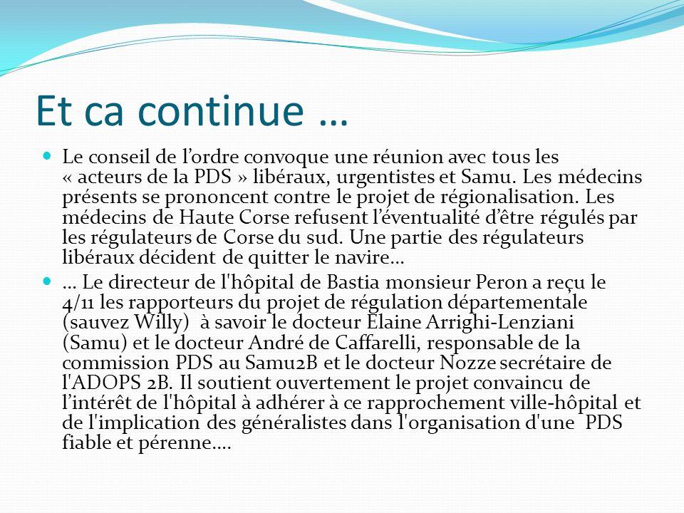 Et ca continue … Le conseil de lordre convoque une réunion avec tous les « acteurs de la PDS » libéraux, urgentistes et Samu. Les médecins présents se