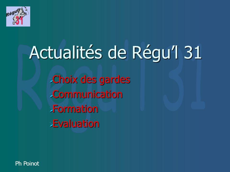 Ph Poinot Actualités de Régul 31 Choix des gardes Choix des gardes Communication Communication Formation Formation Evaluation Evaluation
