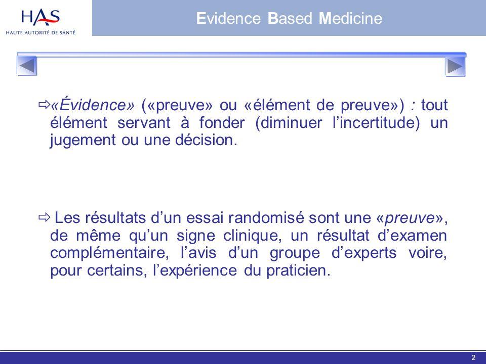 EBM 20062 «Évidence» («preuve» ou «élément de preuve») : tout élément servant à fonder (diminuer lincertitude) un jugement ou une décision. Les résult