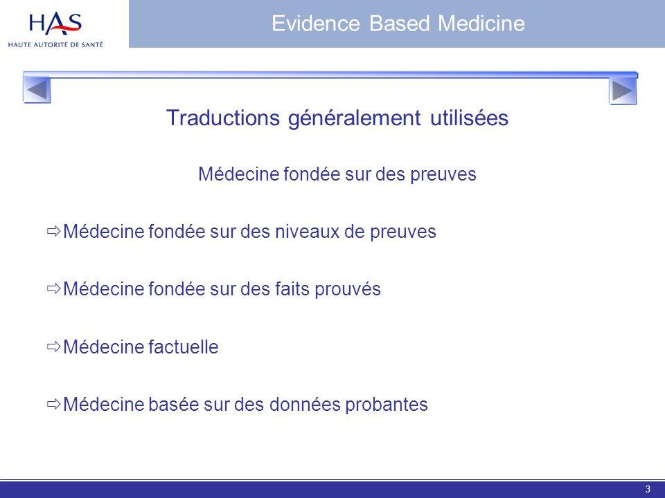 EBM 20063 Traductions généralement utilisées Médecine fondée sur des preuves Médecine fondée sur des niveaux de preuves Médecine fondée sur des faits