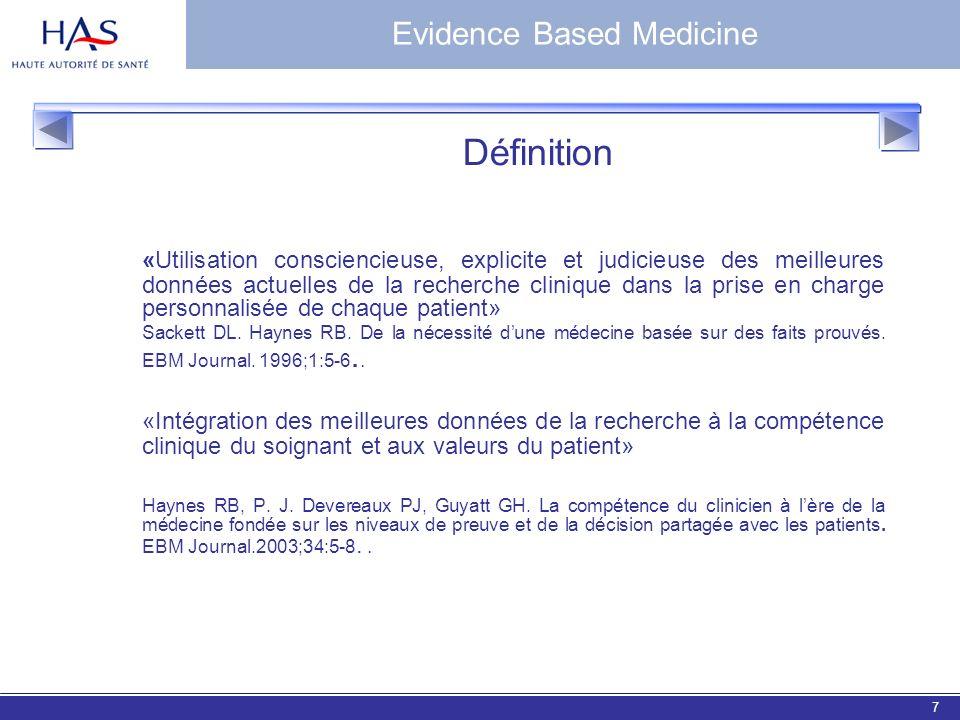 EBM 20067 Evidence Based Medicine Définition «Utilisation consciencieuse, explicite et judicieuse des meilleures données actuelles de la recherche cli