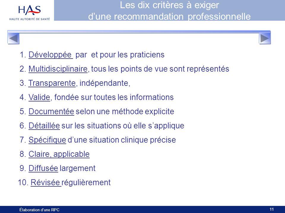 11 Élaboration dune RPC Les dix critères à exiger dune recommandation professionnelle 1. Développée par et pour les praticiens 2. Multidisciplinaire,