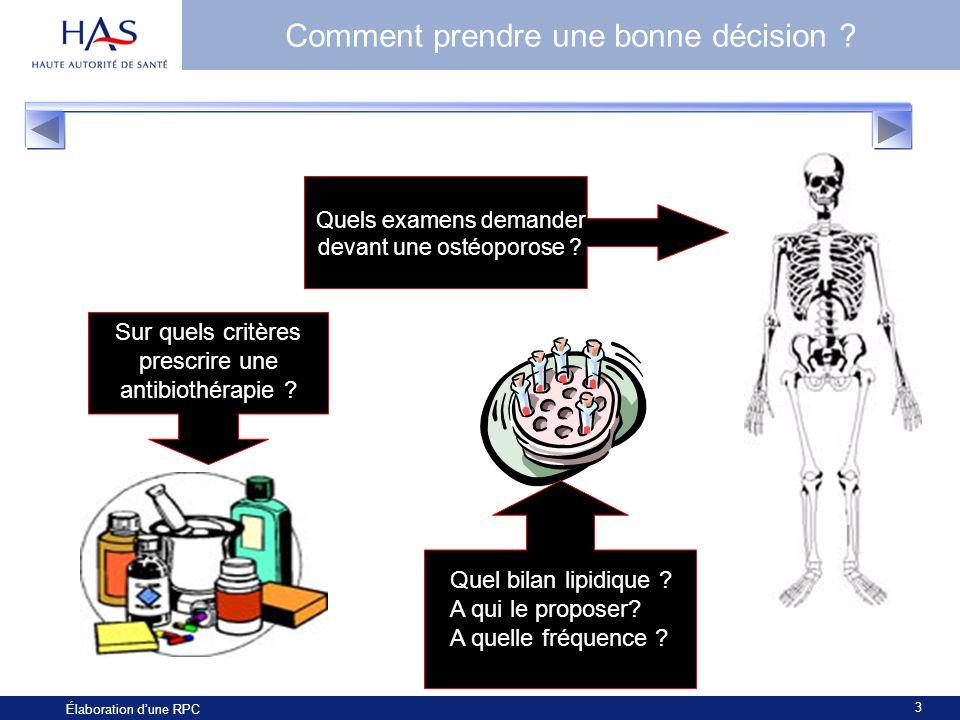 3 Élaboration dune RPC Comment prendre une bonne décision ? Quels examens demander devant une ostéoporose ? Sur quels critères prescrire une antibioth