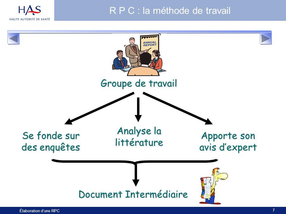 7 Élaboration dune RPC R P C : la méthode de travail Groupe de travail Se fonde sur des enquêtes Analyse la littérature Apporte son avis dexpert Docum