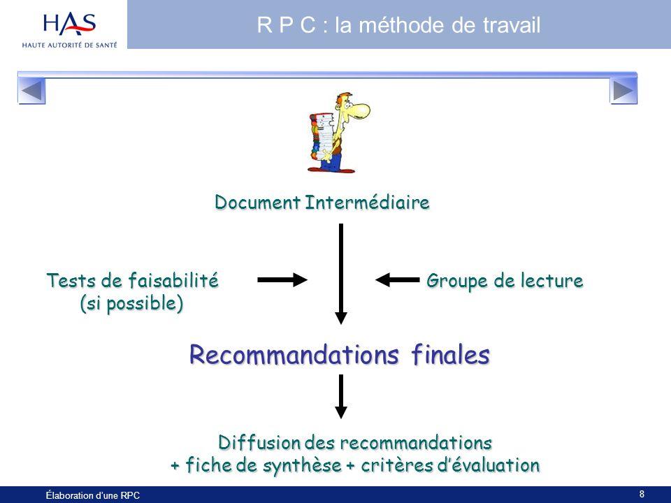 8 Élaboration dune RPC R P C : la méthode de travail Document Intermédiaire Tests de faisabilité (si possible) Groupe de lecture Recommandations final